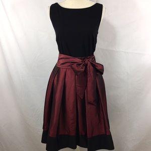NWT black jersey bodice with satin tie skirt